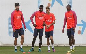André Gomes, Umtiti, Digne y Marlon en un entrenamiento.
