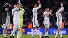 Los jugadores del Real Madrid, en el Camp Nou