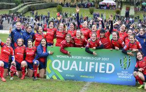 El equipo español de rugby posa tras clasificarse para el Mundial.