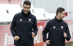 Iborra y Escudero, en un entrenamiento.