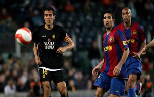 Arango, en un partido con el Mallorca ante el Barcelona en la...