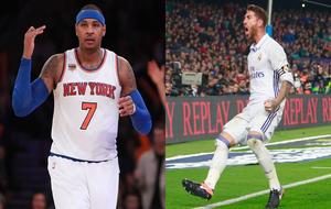 Carmelo Anthony (New York Knicks) y Sergio Ramos (Real Madrid)
