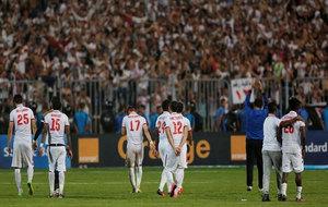 El Zamalek v Mamelodi Sundown / Players of Egypt's El Zamalek react...
