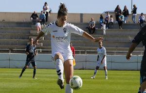 María Arranz durante un partido esta temporada en el Andrés Iniesta.