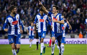 Gerard Moreno celebra un gol con el Espanyol.