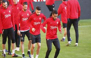 Los jugadores del Sporting, durante un entrenamiento de esta temporda.