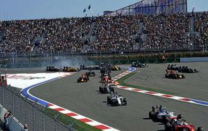 Primeros metros del GP de Rusia en el circuito de Sochi de esta...