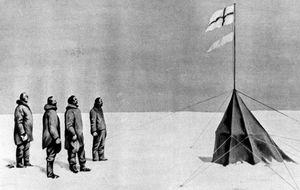 La bandera noruega en el Polo Sur