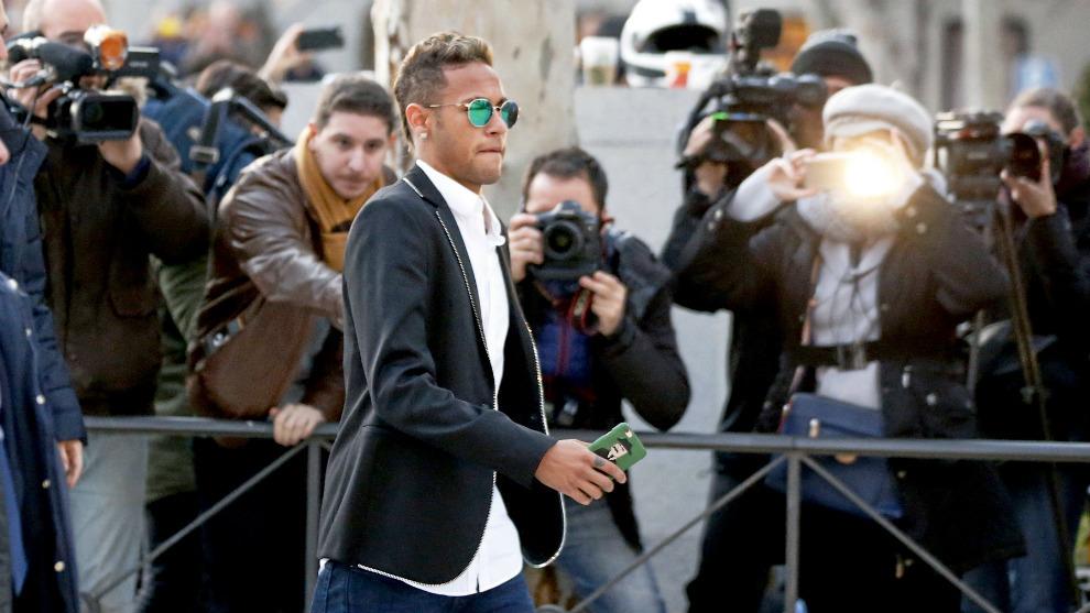 Neymar, el día que declaró en la Audiencia Nacional.
