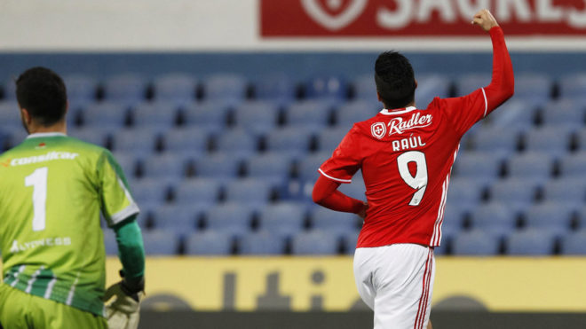 Así celebró Raúl Jiménez su gol en la Copa de Portugal.