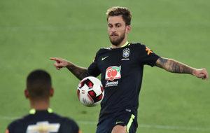 Lucas Lima, en un entrenamiento con la selección de Brasil