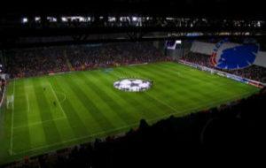 El Parken Stadion durante un partido de UEFA Champions League.