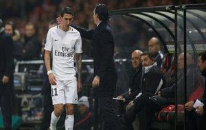 Di María, tras ser sustituido por Emery en un encuentro del PSG.