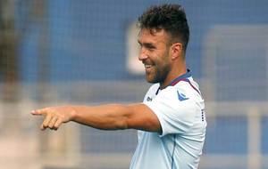 Víctor Casadesús señala durante un entrenamiento de esta temporada...