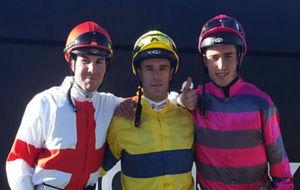 Borja Fayos, Václav Janácek y Ricardo Sousa, los tres primeros...