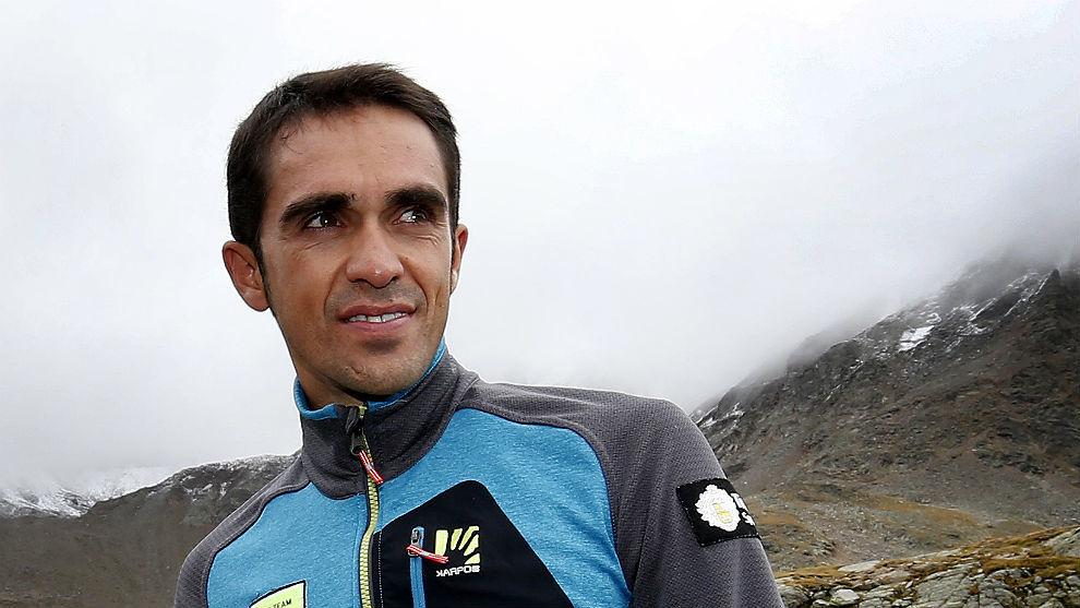 Alberto Contador, este otoño en el Paso del Gavia.