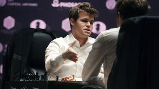 Carlsen, en el Mundial de ajedrez.