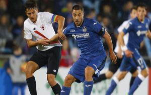 Lacen durante el encuentro contra el Sevilla Atlético