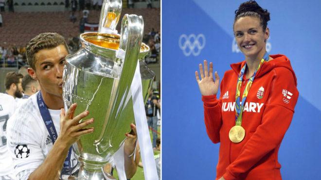 Cristiano besa la 'Orejona' y Katinka Hosszu saluda desde el podio...