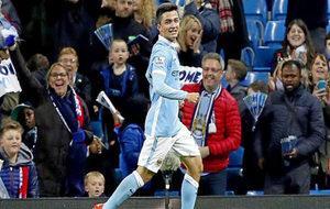 Manu García en un partido con el Manchester City.