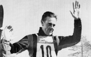 Jean Vuarnet tras ganar el oro olímpico en 1960.