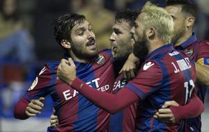 Los jugadores del Levante celebran un gol en la presente temporada.