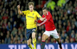 Depay, durante un partido con el Manchester United