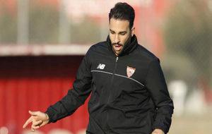 Rami, durante un entrenamiento con el Sevilla