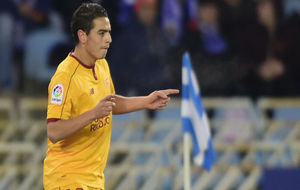 Ben Yedder celebra uno de los goles en Anoeta.