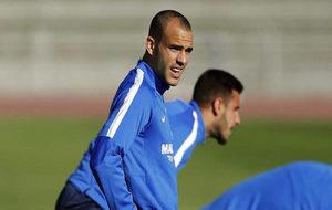 Sandro, en un entrenamiento del M�laga.