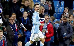 Manu García celebra un gol con el Manchester City.
