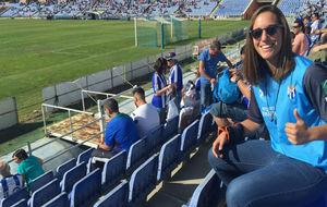 Sara Serrat durante un partido en el Nuevo Colombino.