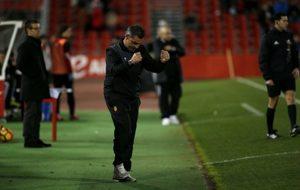 Javier Olaizola (47), celebrando uno de los tantos del Mallorca de...