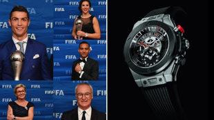 Los premiados posan con un modelo del reloj Hublot con el que les...