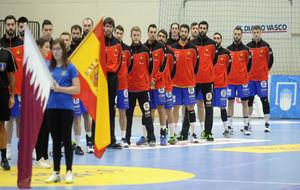 La selección masculina de balonmano, durante el Torno Internacional...