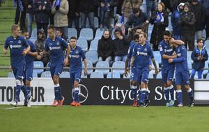 La plantilla del Getafe, celebrando un gol en el Coliseum.