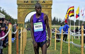 Timothy Toroitich, tras cruzar la meta del cross de Itálica en la...