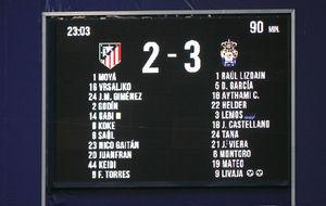 Marcador del Vicente Calderón con el resultado final de 2-3 a favor...