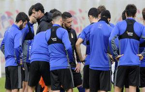 La plantilla del Oviedo durante el entrenamiento de este miércoles