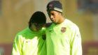Messi y Ronaldinho durante un entrenamiento del Bar�a en 2006.