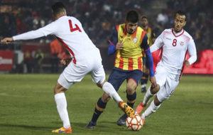 Gerard Moreno, del Espanyol, durante un partido con la selección...
