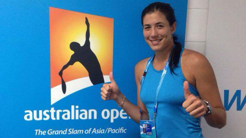 Garbiñe, en las instalaciones del Open de Australia