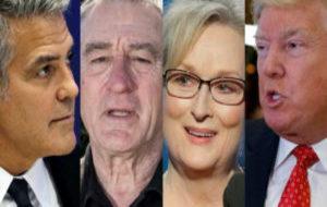 George Clooney, Robert De Niro, Meryl Streep y Donald Trump