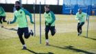 Arda, Messi y Mascherano, en el entrenamiento del viernes.