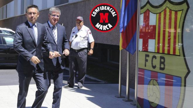 Josep María Bartomeu y Jordi Mestre entrando a unas oficinas del club