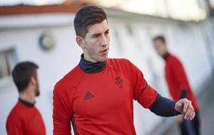 David Garc�a, durante un entrenamiento con Osasuna