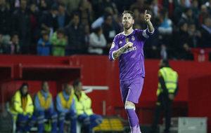 Sergio Ramos, tras marcar de penalti en el Sevilla-Real Madrid de...
