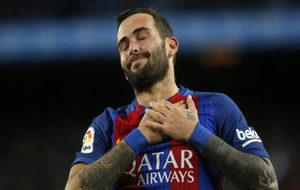 Emocionante celebración de Aleix Vidal tras marcar el quinto gol del...