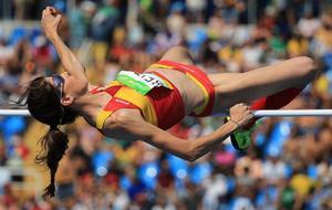 Ruth Beitia, durante la final de salto de altura de Río 2016.