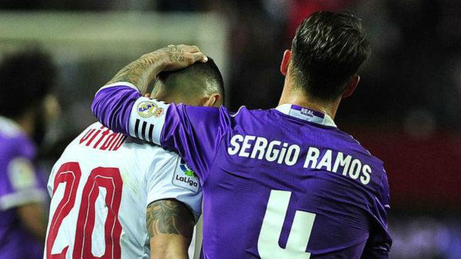 Vitolo y Ramos, tras el partido de Copa